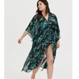 Torrid: black & green palm chiffon kaftan